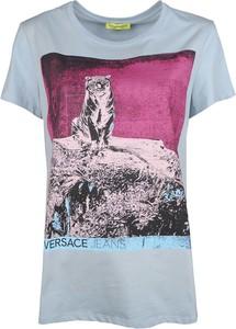 T-shirt Versace Jeans z okrągłym dekoltem z tkaniny