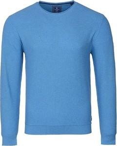Niebieski sweter Redmond w stylu casual z bawełny z okrągłym dekoltem