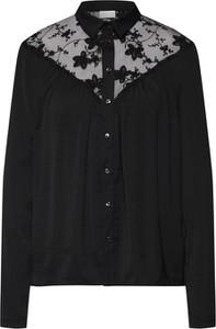 Czarna koszula Vila z szyfonu z długim rękawem