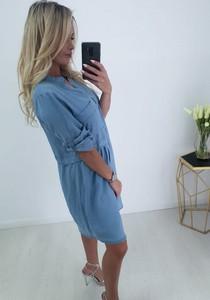 Niebieska sukienka chantel.pl z długim rękawem w młodzieżowym stylu z jeansu