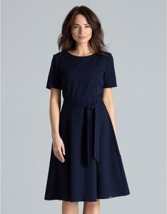 Niebieska sukienka LENITIF z krótkim rękawem z okrągłym dekoltem midi