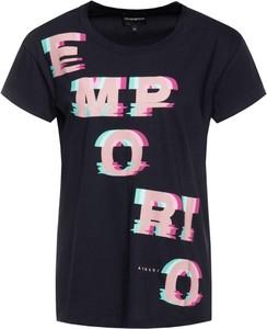Granatowy t-shirt Emporio Armani z krótkim rękawem w młodzieżowym stylu