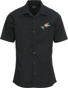 Czarna koszula Only & Sons z krótkim rękawem z klasycznym kołnierzykiem