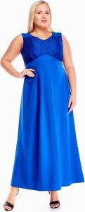 Niebieska sukienka Fokus bez rękawów z dekoltem w kształcie litery v dla puszystych