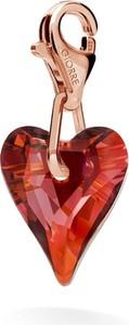 GIORRE SREBRNY CHARMS SERCE SWAROVSKI 925 : Kolor kryształu SWAROVSKI - Crystal Red Magma, Kolor pokrycia srebra - Pokrycie Różowym 18K Złotem