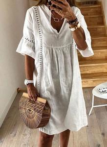 Sukienka Cikelly mini z dekoltem w kształcie litery v z długim rękawem