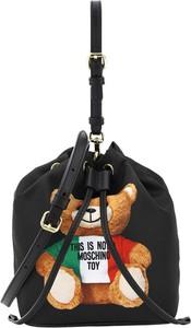 Czarna torebka Moschino ze skóry na ramię