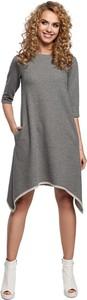 Sukienka MOE z długim rękawem z okrągłym dekoltem asymetryczna