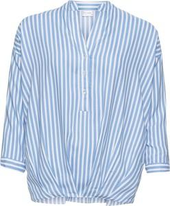 Niebieska bluzka bonprix BODYFLIRT z długim rękawem z dekoltem w kształcie litery v