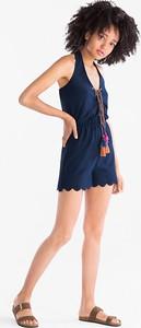 Niebieski kombinezon CLOCKHOUSE z krótkimi nogawkami w stylu boho