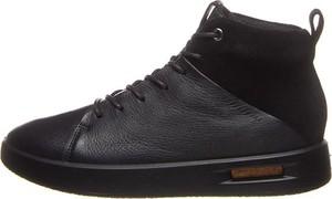 Czarne buty zimowe Ecco ze skóry sznurowane