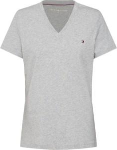 Bluzka Tommy Hilfiger z dżerseju z dekoltem w kształcie litery v z krótkim rękawem