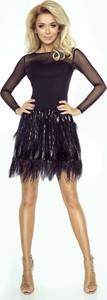 Czarna sukienka imesia.pl na sylwestra z długim rękawem z tkaniny