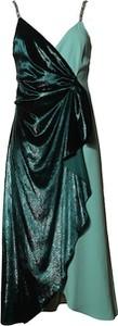 Sukienka Pinko z dekoltem w kształcie litery v asymetryczna na ramiączkach