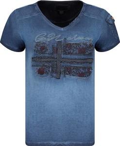 T-shirt Geographical Norway z krótkim rękawem z bawełny z okrągłym dekoltem