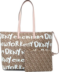 Brązowa torebka DKNY na ramię duża w młodzieżowym stylu