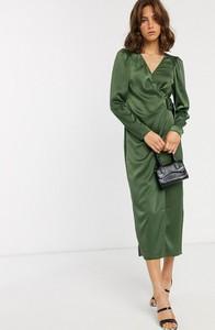 Zielona sukienka Asos Design z długim rękawem