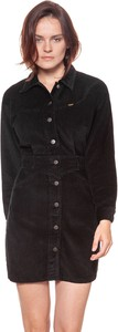 Granatowa sukienka Wrangler z długim rękawem mini koszulowa