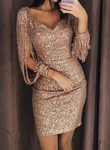 Złota sukienka Sandbella dopasowana mini z długim rękawem