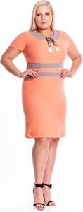 Sukienka Fokus z krótkim rękawem ołówkowa z tkaniny