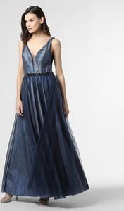 Niebieska sukienka Mascara z tiulu z dekoltem w kształcie litery v na ramiączkach