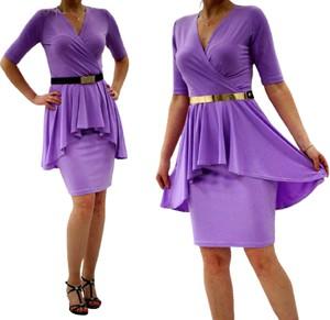 Fioletowa sukienka MM Fashion baskinka z krótkim rękawem mini
