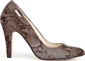 Brązowe szpilki Zapato na wysokim obcasie ze spiczastym noskiem