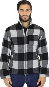 Czarna koszula Woolrich z wełny z długim rękawem