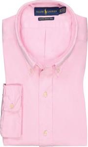 Różowa koszula POLO RALPH LAUREN z kołnierzykiem button down z długim rękawem z bawełny