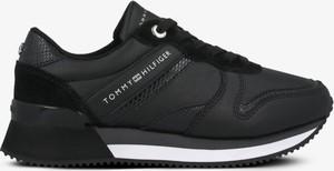 Czarne buty sportowe Tommy Hilfiger z płaską podeszwą sznurowane