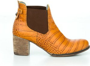Pomarańczowe botki Zapato na obcasie ze skóry
