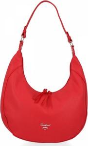 Czerwona torebka David Jones ze skóry ekologicznej w stylu glamour na ramię