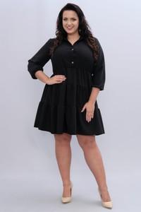 Czarna sukienka KARKO oversize z długim rękawem z tkaniny