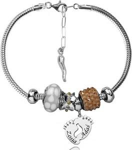 Mak-biżuteria BR1037 BRANSOLETKA z GRAWERUNKIEM Swarovski Elements modułowa laser złote