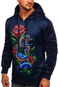 Granatowa bluza Denley z nadrukiem