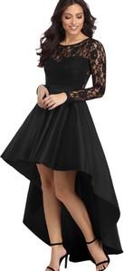 Czarna sukienka Elegrina z długim rękawem z okrągłym dekoltem maxi