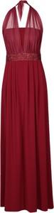 Czerwona sukienka Fokus maxi z dzianiny z dekoltem halter