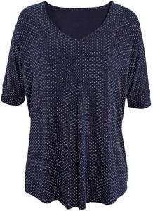 Granatowa bluzka LASCANA z krótkim rękawem