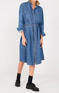 Niebieska sukienka American Vintage z kołnierzykiem z bawełny midi