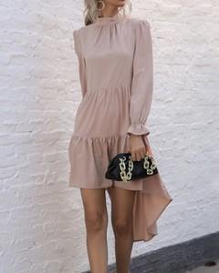 Sukienka Kendallme z okrągłym dekoltem z długim rękawem mini