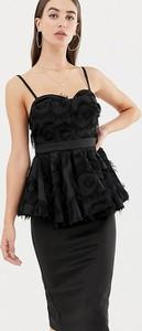 Czarna sukienka Asos z dekoltem w kształcie litery v dopasowana