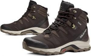 Brązowe buty zimowe Salomon w sportowym stylu sznurowane