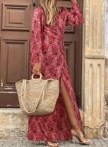 Czerwona sukienka Cikelly z długim rękawem z dekoltem w kształcie litery v maxi