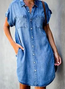 Niebieska sukienka Sandbella w stylu casual mini z kołnierzykiem