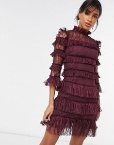 Fioletowa sukienka By Malina z długim rękawem