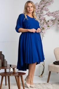 Niebieska sukienka KARKO midi z dekoltem w kształcie litery v z długim rękawem