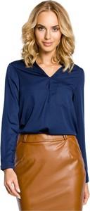 Niebieska bluzka MOE z długim rękawem z dekoltem w kształcie litery v w stylu casual