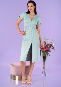 Miętowa sukienka MERRIBEL midi trapezowa z dekoltem w kształcie litery v