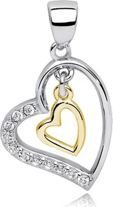 Valerio Rodowany pozłacany srebrny wisiorek serce cyrkonia cyrkonie srebro 925 Z0676CGR