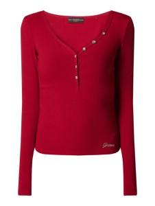 Bluzka Guess z długim rękawem w stylu casual z dekoltem w kształcie litery v